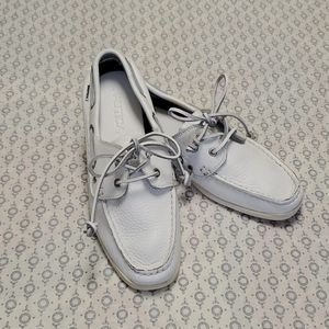 White Nautica Leather Boat Shoes